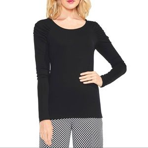 NWT Vince Camuto Ruched Shoulder Long Sleeve Top